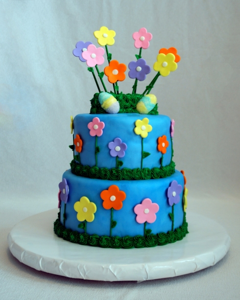 Easter Cake (Blue with Flowers and Eggs)