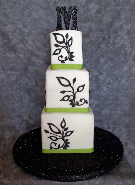 Lovely Black and White and Green Wedding Cakes